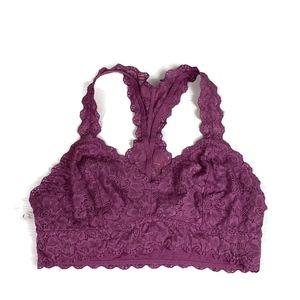 Felina Bralette Lace Purple Floral Racerback